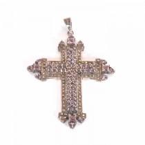 Pendantif croix argent et ametiste