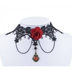 Collier Vintage pierre rouge et rose