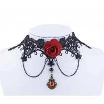 Collier Vintage pierre rouge et rose